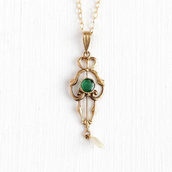 Antique Edwardian 10k Rosy Yellow Gold Genuine Emerald Necklace - Vintage 1910s Dainty Baroque Pearl Lavalier Pendant Fine Bow Jewelry