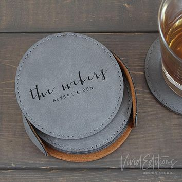 Personalized Round Leather Coaster Set of 6 - Gray CB08