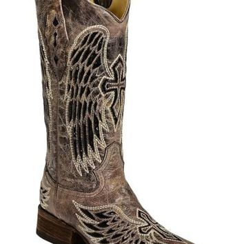 Corral Women's Cross and Wing Sequin Inlay Square Toe Western Boots