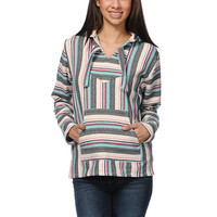 Senor Lopez Girls Natural Grey & Mint Stripe Poncho at Zumiez : PDP