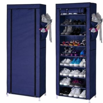 Portable Shoe Rack Shelf Storage Closet Organizer Cabinet Portable 10 Layer 9 Grid