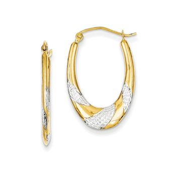 Two-Tone Oval Hoop Earrings in 14k Yellow Gold and Rhodium