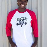 Thrasher Magazine Shop - Skategoat Raglan (White / Red)
