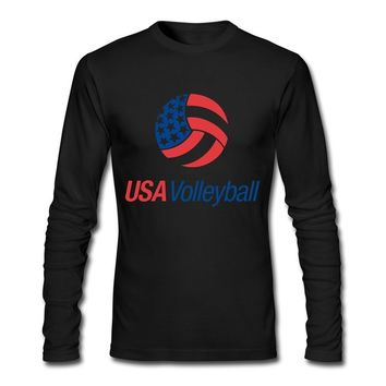 RUIFENG Men's Usa Volleyball Logo Long Sleeve T-shirt Size S Black