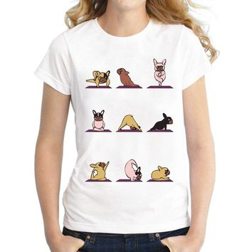 Frenchie Dog Printed T-Shirt - Women's Crew Neck T-Shirt