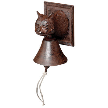 "7"" Cast Iron Cat Head Doorbell, Brown, Door Knockers"