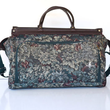 Vintage Floral Print Carry On Bag Atlantic Luggage Weekender Bag Floral Tapestry Duffle Bag