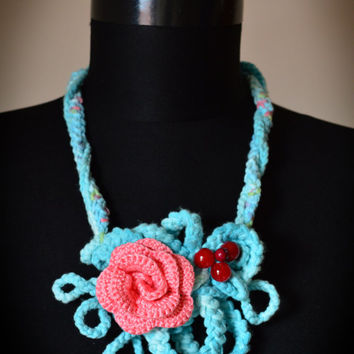 clearance sale One Only,Knitted Necklace,Blue necklace,Crochet bib,Crochet necklace,Real Flower necklace,Floral necklace,Any occasion neckla
