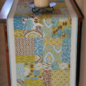 Quilted Table Runner in Ibiza Collection with Blue Green and Brown