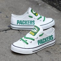 Custom Printed Low Top Canvas Shoes - Green Bay Packers White