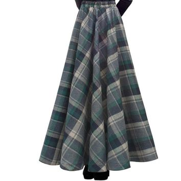 Free New Fashion Long Maxi Thick A-line Skirts For Women Elastic Waist Winter Plaid Woolen Skirts Warm With Pocket