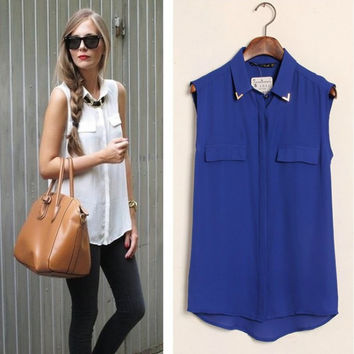 Sleeveless Button Collared Chiffon Blouse