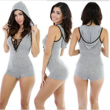 Gray Drawstring Lace Hooded Romper B0016358