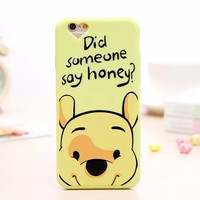 Cute 3D Cartoon Winnie The Pooh Bear Soft Lovely Phone Back Cover Case For Apple iPhone 6 6s 4.7'