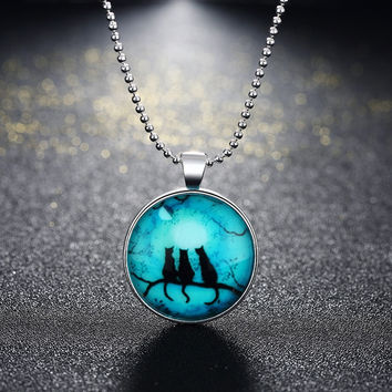 Ball Chain Halloween Style Cat Glowing Glass Cabochon Pendant Necklace Steampunk Jewelry