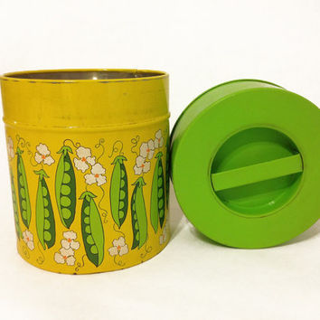 Very Cute Vintage Flower and Pea Tin Canister by ModernFiction