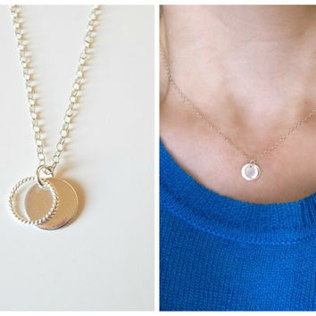 Silver Coin Necklace, Dainty Silver Necklace, initial necklace, silver necklace, simple necklace