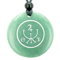 Universe Ancient Money Sigil Talisman Green Quartz Magic Pendant Necklace