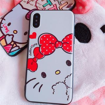 Rlenda Cartoon Hello Kitty Slamdunk Sailor Moon Silicone Soft TPU Phone Case For iphone X 8 7plus  6 6s Plus