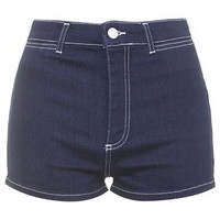 MOTO Contrast Stitch Shorts - Indigo Denim