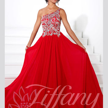 One Shoulder Beaded Floor Length A-line Prom Dress Tiffany Designs 16089