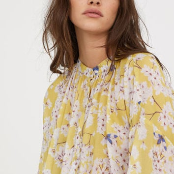 Patterned lyocell blouse - Light yellow/Floral - Ladies | H&M GB
