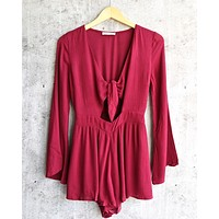 a love like this romper - burgundy
