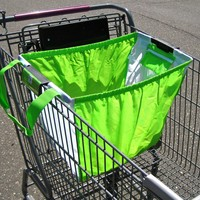 Reusable Shopping Cart Bag, with Universal Clip, Green/white