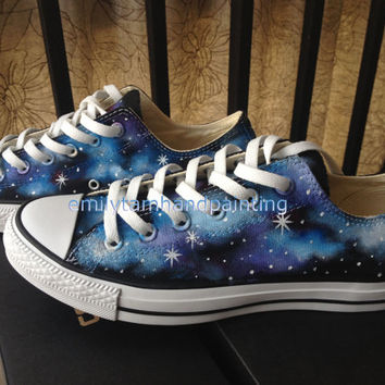 cef498c71888 New Converse Galaxy Sneakers Hand Paint Blue and Purple Galaxy Shoes Galaxy  Kicks Low Top