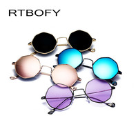 2017 New Classic Polygon Clear Women Sunglasses Fashion Brand Designer Men Vintage Metal Frame Mirror Optical Sun Glasses
