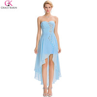 Evening Dress Chiffon Strapless Formal Wear Elegant Gowns Cheap Evening Dress Short Front Long Back
