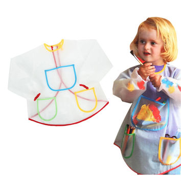 Multifunctional Kids Baby Apron Smock with 3 Pockets Painting Drawing Kids Home Apron Anti-Wear Waterproof Costume Crafts LW154