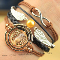 Harry Potter time Turner character Granger 18 k Yellow plated bracelet, infinite snitch bracelet, girlfriend, jewelry, gifts