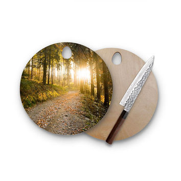 Light Threw The Trees Round Wood Cutting Board Artistic Modern Cheese Board Hostess Gift
