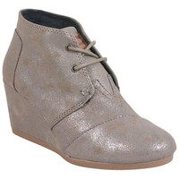 TOMS Synthetic Leather Desert Wedge Gunmetal Grey Grey Wedge Boot