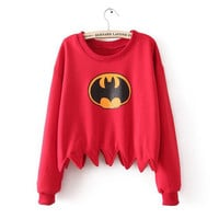 Red Batman Print Dentate Hem Crop T-shirt