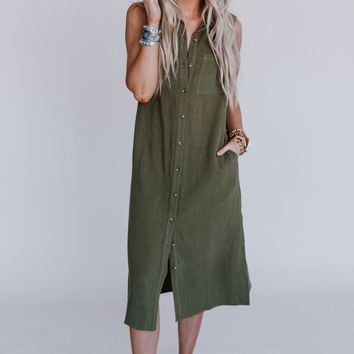 Moreno Valley Linen Shirt Dress - Olive