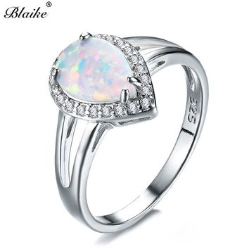 Blaike 925 Sterling Silver Filled Water Drop White Fire Opal Rings For Women Fashion Jewelry Rainbow Birthstone Engagement Ring