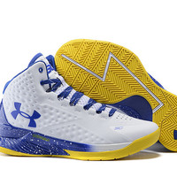 Men's Under Armour Stephen Curry One MVP White Blue Yellow Basketball Shoes