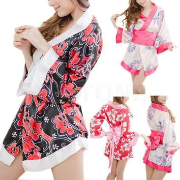 LMFIJ6 Sexy Floral Japanese Kimono Stage Sleepwear Lingerie Dress Bath Robe Nightgown