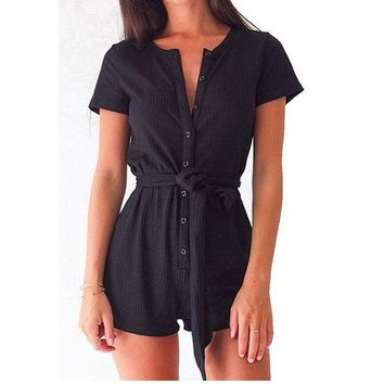 PEAPU3S 2017 New Casual Playsuit Women Deep V neck Solid Sashes Cotton Women Jumpsuits Button Sexy Rompers One-piece Clothing