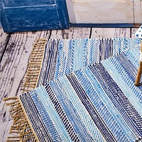 Out of the Blue Multi Color Recycled Striped Rug