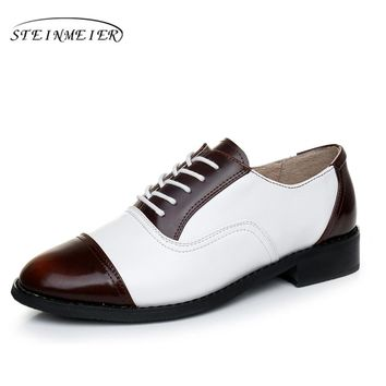 2017 woman vintage flat oxford shoes round toe genuine leather US 11 handmade lace up brown white oxford shoes for women