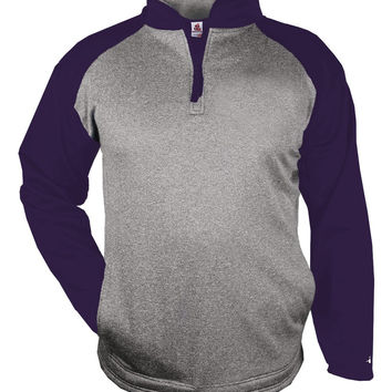 Badger 1484 Sport Heather 1/4 Zip - Steel Heather Purple