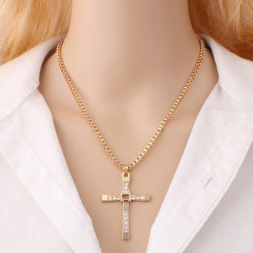 Silver plated Cross Pendant Necklace Chain Sliver