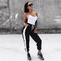 Women Harem Pants Fashion Multicolor Button Leisure Pants Sweatpants Trousers