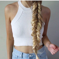 Women Crochet Halter Crop Top Bralette Knit Cami Tank Sexy Boho Beach Short Vest