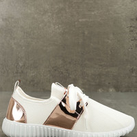 Lena White Knit Sneakers