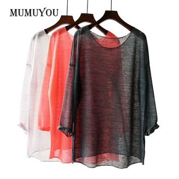 Women Transparent Blouse Shirt Polyester Loose Knitted Ladies Tops Long Sleeve Blouses Asymmetric Semi See Through 906-549