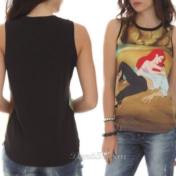 Licensed cool Disney The Little Mermaid ARIEL Beach Scene JRS.Ladies Sheer Tank Top Tee Shirt